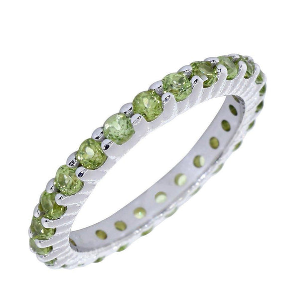 Stackable Peridot Eternity Band in 14K White Gold