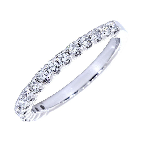 shop,buy,Diamond Wedding Band with Tulip Settings, Diamonds Halfway 0.60 Total  in 14k White Gold, fine Jewelry, Sziro Jewelry