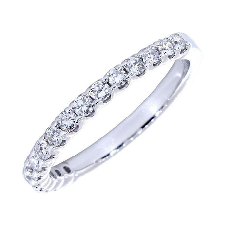 Diamond Wedding Band with Tulip Settings, Diamonds Halfway 0.60 Total  in 14k White Gold