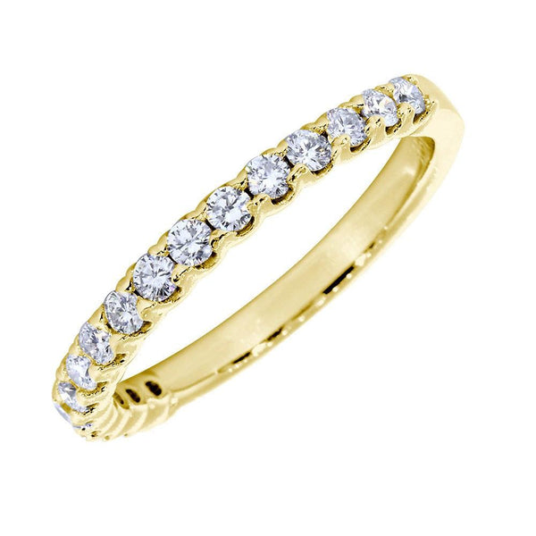 Diamond Wedding Band with Tulip Settings, Diamonds Halfway 0.60 Total  in 18k Yellow Gold