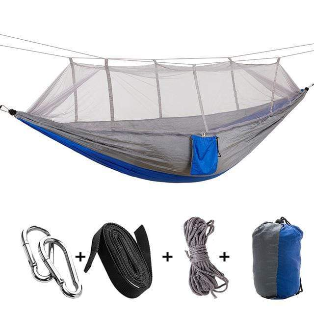 stupendous deals Gray Blue 1-2 Person Portable Outdoor Camping Hammock with Mosquito Net By Impact Shop