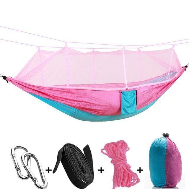 stupendous deals Pink Blue 1-2 Person Portable Outdoor Camping Hammock with Mosquito Net By Impact Shop