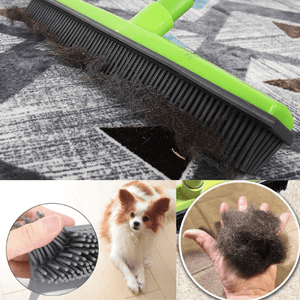 impact-wireless 151410 Green Miracle Broom 3-in-1 Bristles Sweeper Squeegee Scratch Free Bristle Broom for Pet Cat Dog Hair Carpet Hardwood Windows