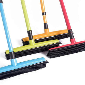 impact-wireless 151410 Red Miracle Broom 3-in-1 Bristles Sweeper Squeegee Scratch Free Bristle Broom for Pet Cat Dog Hair Carpet Hardwood Windows