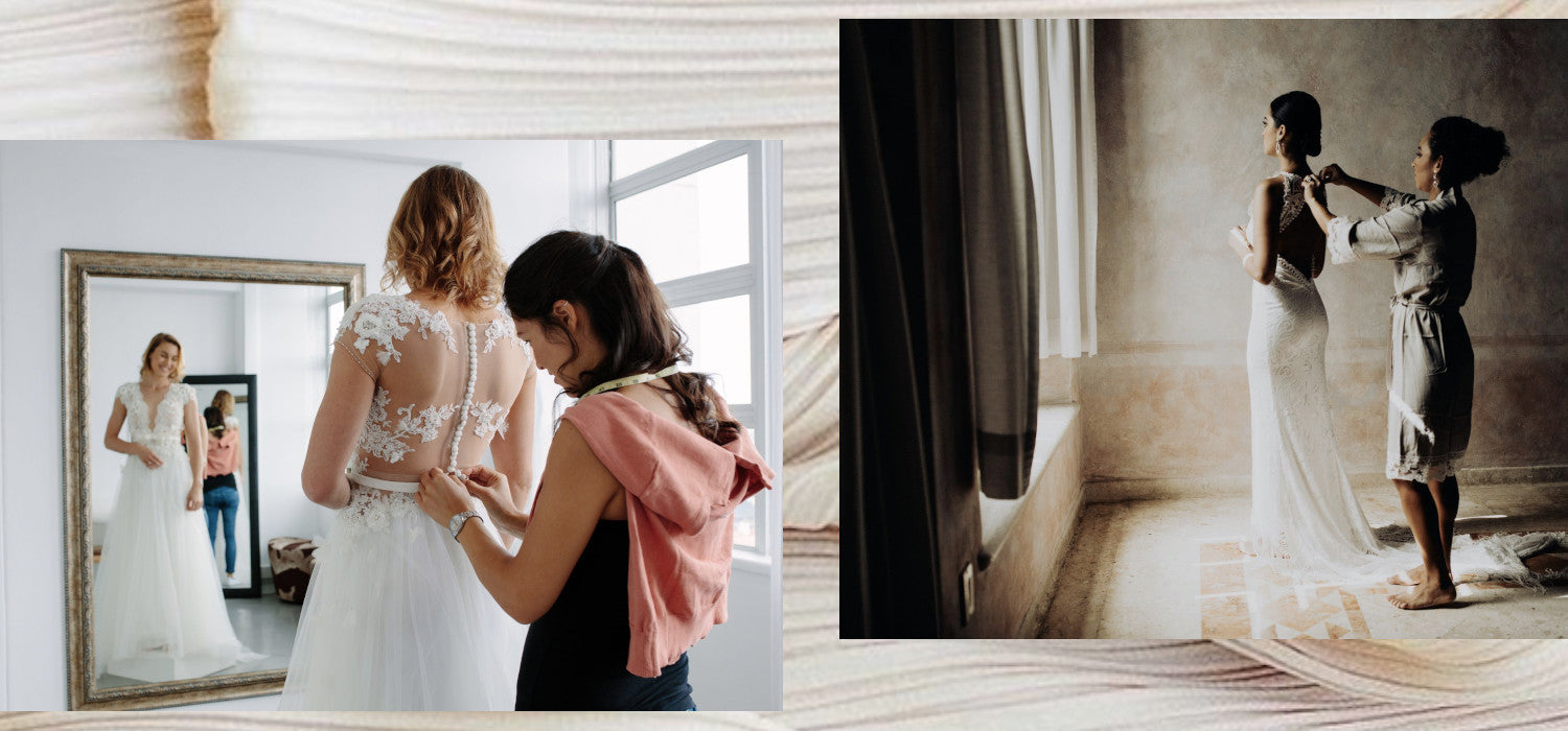 Altering Pre-Loved Bridal Gowns is easier than you think. Image ID: two photographs of brides in wedding gowns with a seamstress preparing for alterations.
