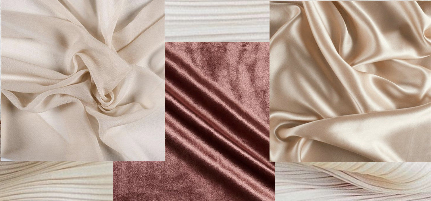 Wedding dresses are not sustainable to produce! Image ID: Layered photos of chiffon, velvet, and silk over a background of crepe.