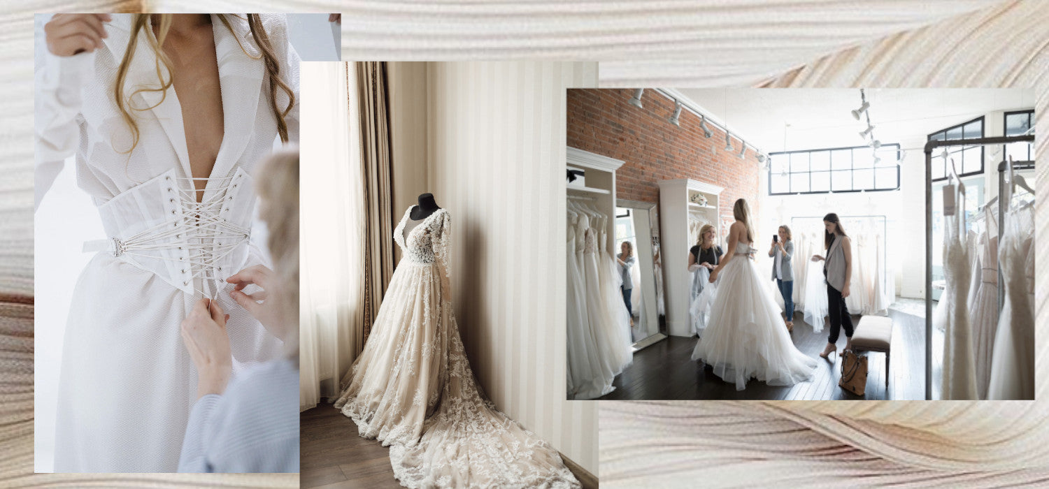 Bridal Gown Alterations are easier than you think! Image ID: Three photographs of wedding gowns in the process of alteration.