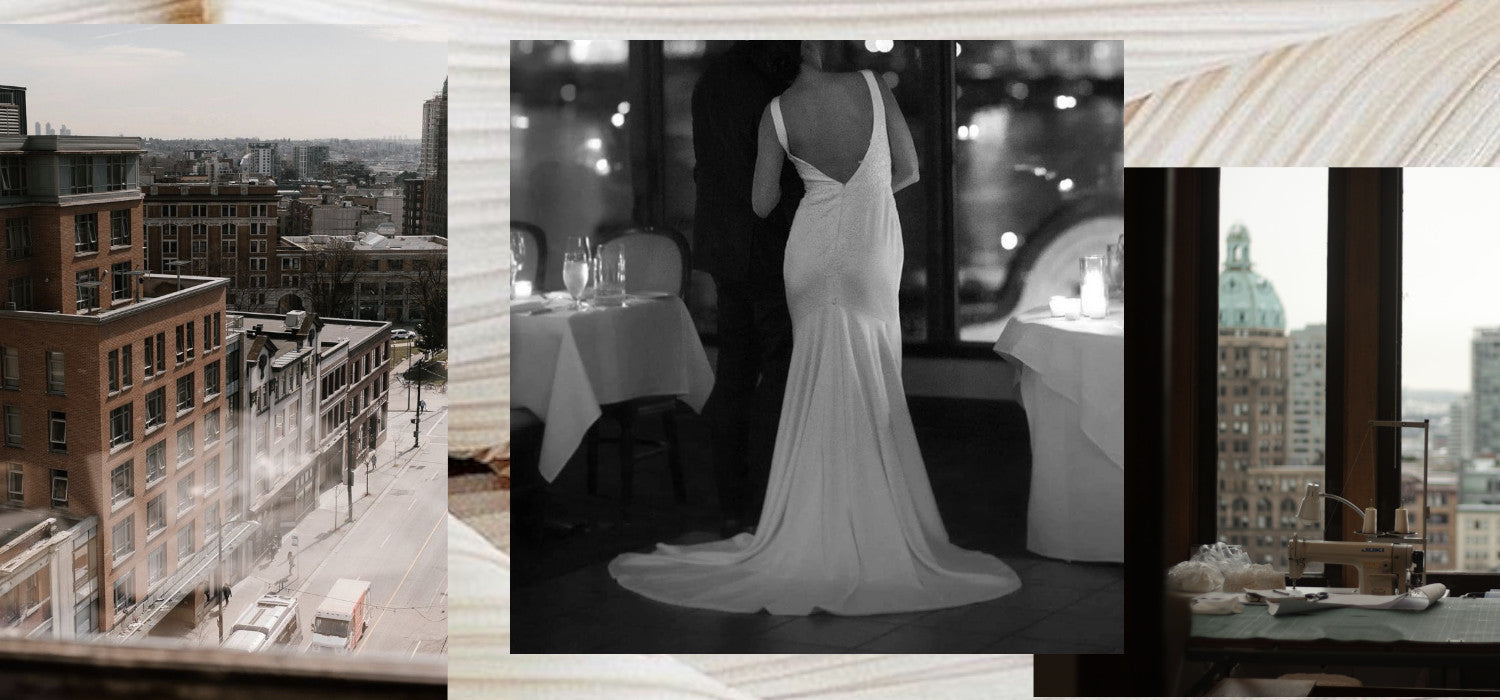 We consign all sorts of beautiful pre-loved bridal gowns from our Vancouver based studio. Image ID: Three images, in order, one photo of the view from our Gastown studio, a photo of one of our consigned gowns, and a photo of the view from our studio space looking towards Crosstown.