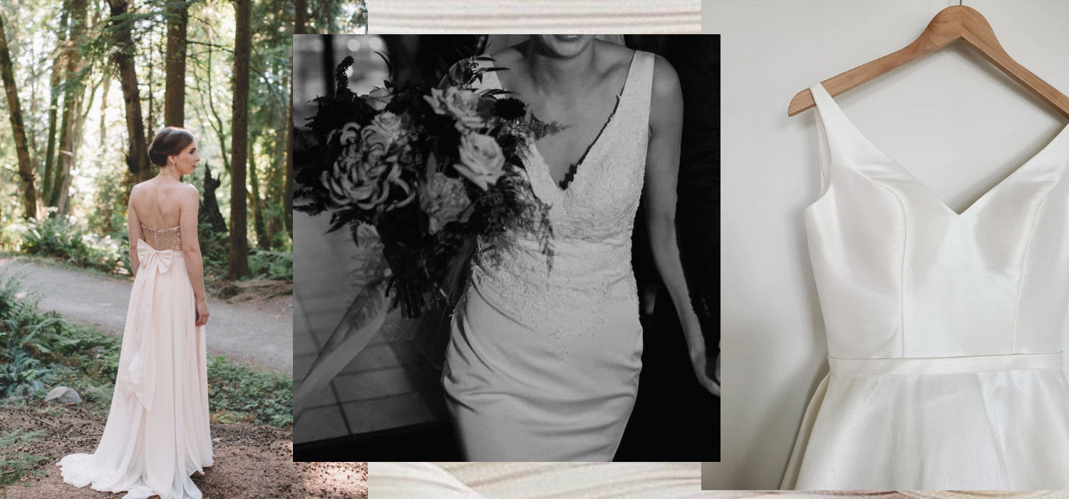 Pre-loved wedding gowns are the only eco-friendly option. Image ID: Three photographs of pre-loved gowns on offer at La Laurel.