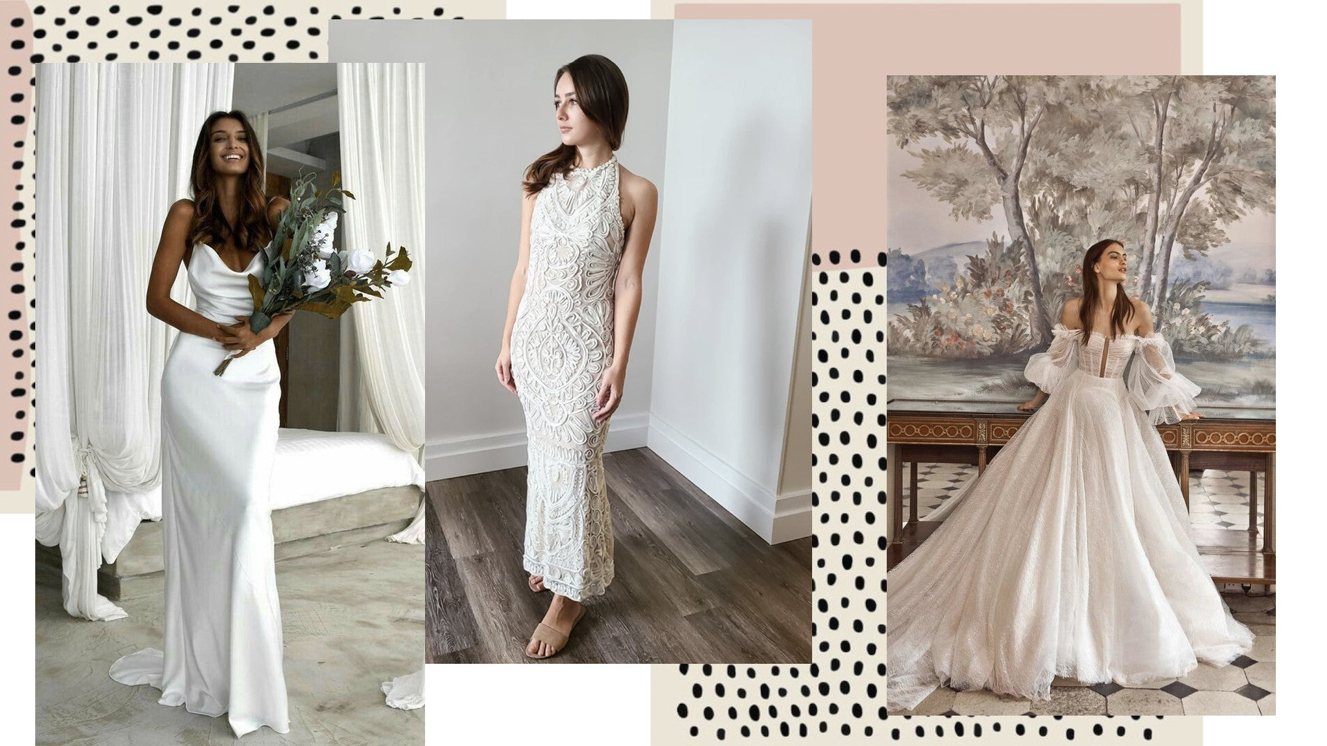Silky wedding dresses and beaded wedding dresses from Vancouver bridal consignment La Laurel