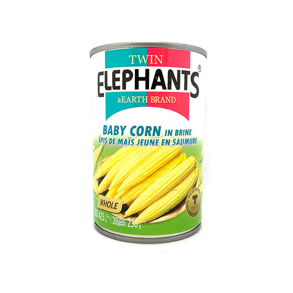 Twin Elephants Baby Corn in Brine 425g