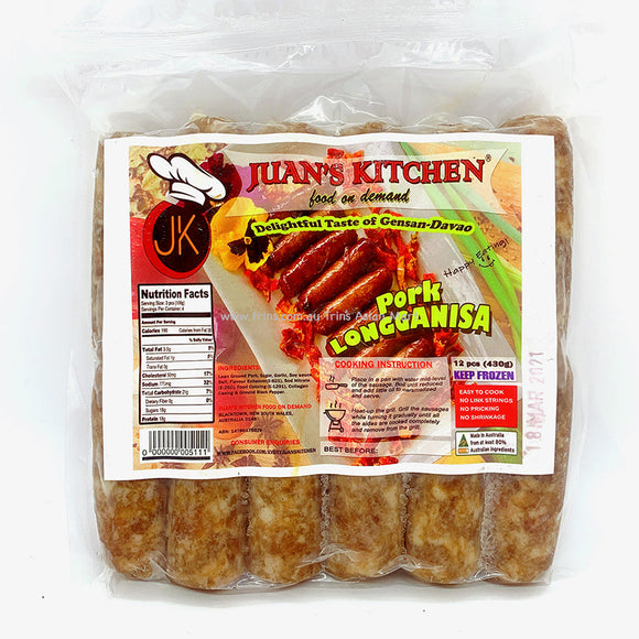 JUANS KITCHEN PORK LONGGANISA 430G