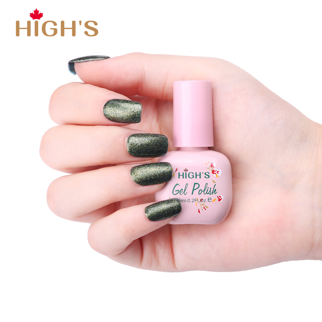 HIGH'S Peel Off Gel Nail Polish, Green Forest