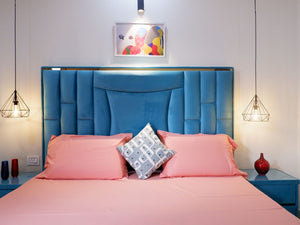Turquoise Blue Bed with Side Tables