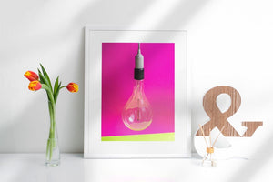 Homezop Pink Bulb Wall Art