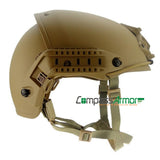 VBH-RM Coyote Brown Ventilated Ballistic Helmet with Sides-rails and NVG mount