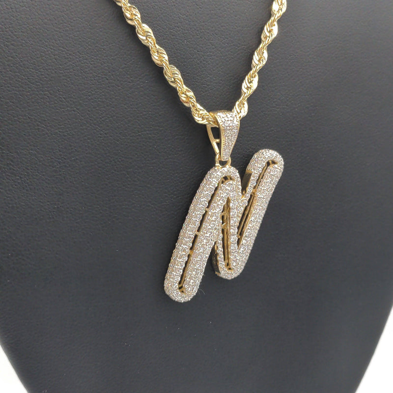 14k Initial N + Hollow Rope Chain by GD™ - Gold Drip Jewelry