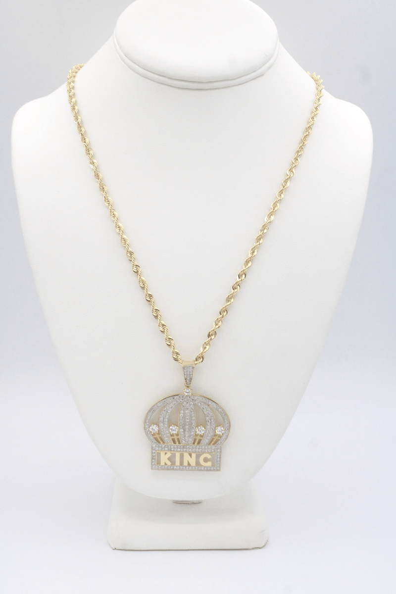 14K King Pendant zc Stones with Hollow Rope Chain Yellow Gold by GD ™ - Gold Drip Jewelry
