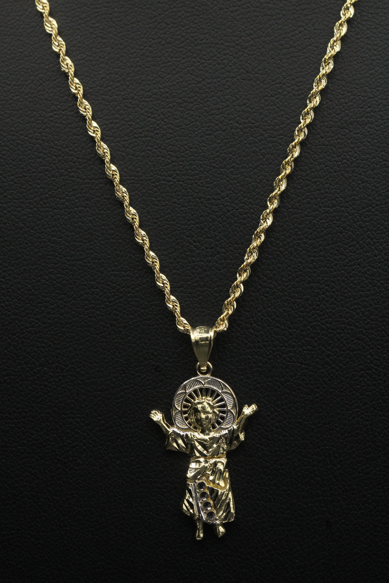 14K Hollow Rope Chain with Divino Niño Pendant by GD - Gold Drip Jewelry