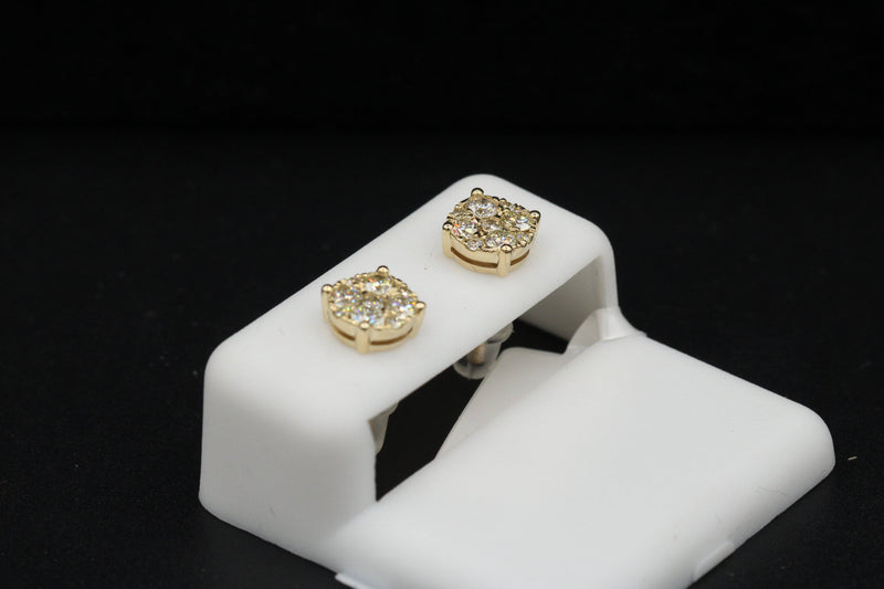 14k VS Diamond Round Earrings Yellow Gold by GD ™ - Gold Drip Jewelry
