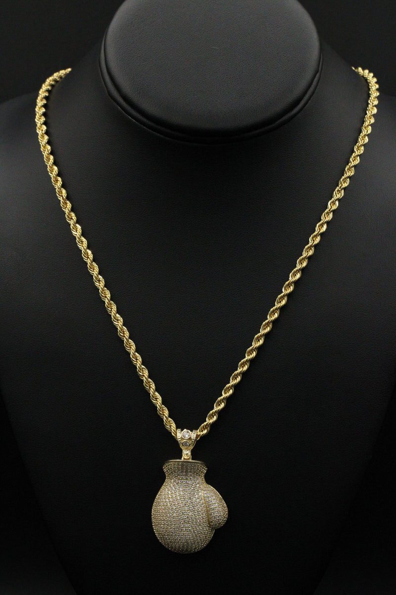14K Boxer Glove cz Pendant With Hollow Rope Chain by GD - Gold Drip Jewelry
