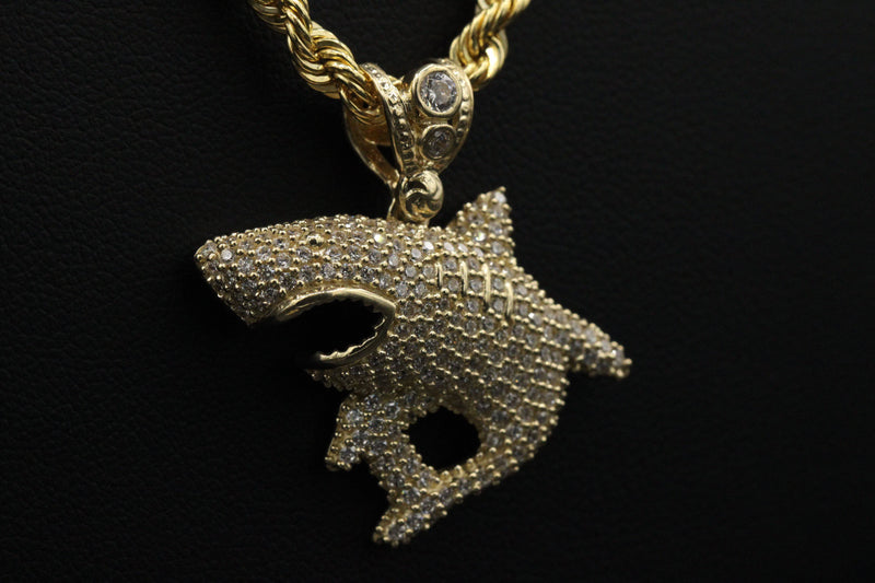 14K Shark cz Pendant With Hollow Rope Chain by GD - Gold Drip Jewelry