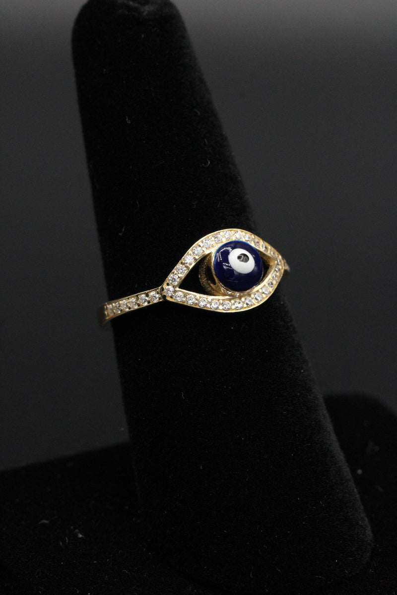14K Turkish Eye Ring for Women CZ stones by Gold Drip ™ - Gold Drip Jewelry