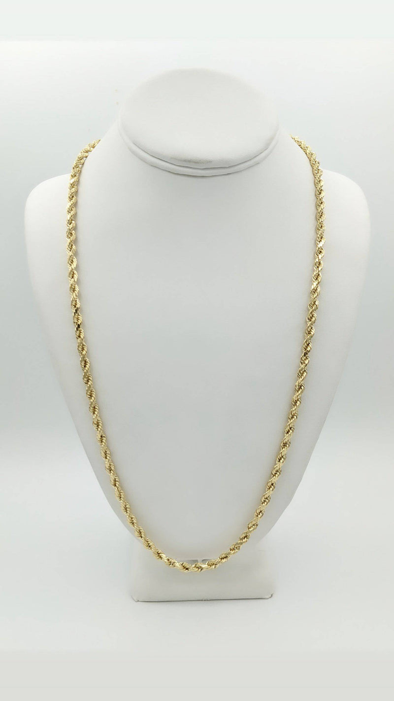 14K Hollow Rope Chain Yellow Gold by GD ™ - Gold Drip Jewelry