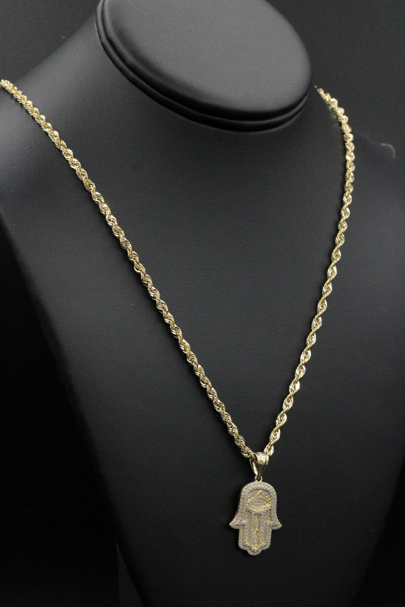 14K Hamsa cz Pendant With Hollow Rope Chain by GD ™ - Gold Drip Jewelry