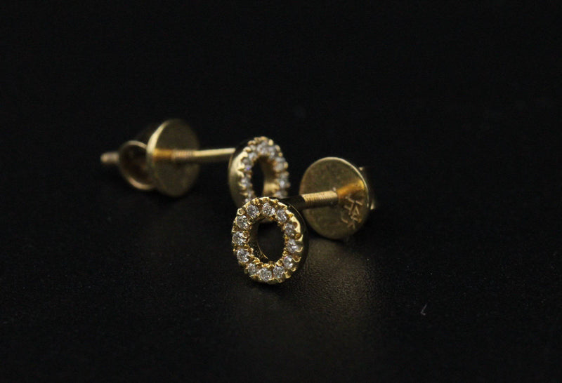 14k Earrings for Women cz stones Yellow Gold by GD ™ - Gold Drip Jewelry