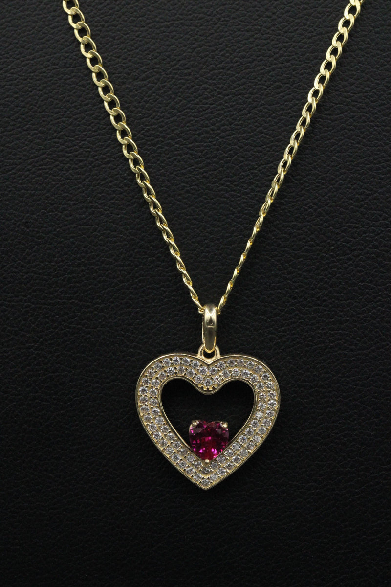 14K Heart cz stones Pendant with Hollow Cuban Chain Flat by GD ™ - Gold Drip Jewelry