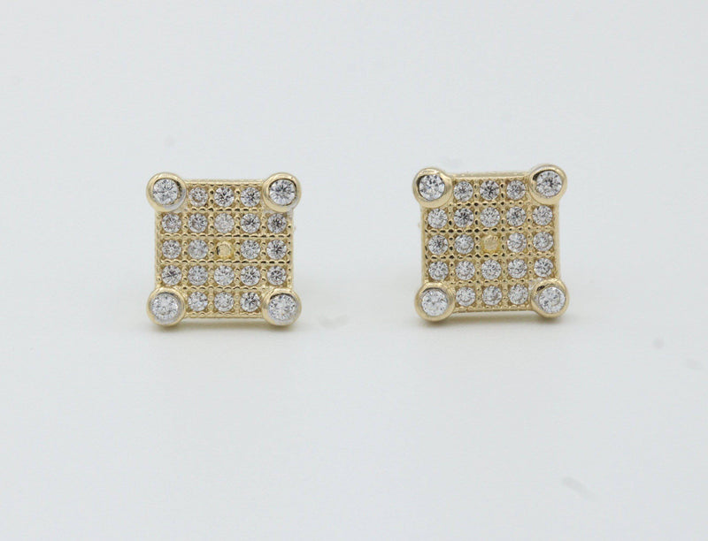 14k Square Men´s Earrings cz stones Yellow Gold by GD ™ - Gold Drip Jewelry