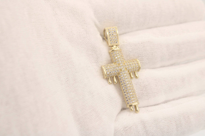 14k Full zc Dripping Cross Pendant Yellow Gold BY GD - Gold Drip Jewelry