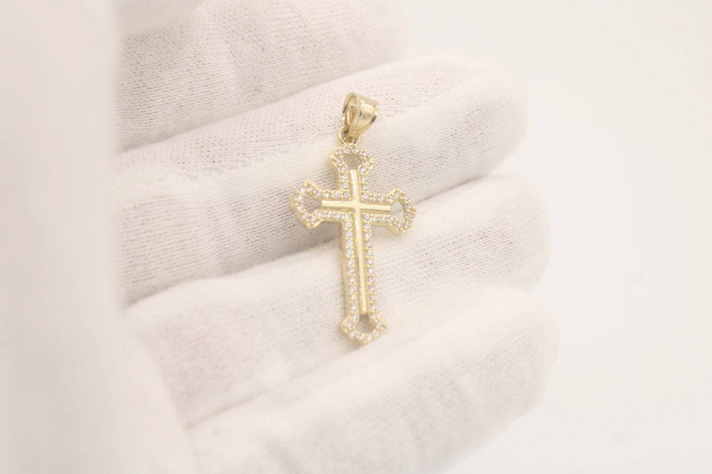 14k Cross Pendant 3D Yellow Gold BY GD - Gold Drip Jewelry