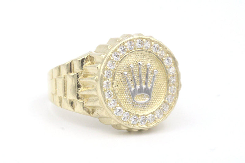 14k Rolex Ring For Men zc Stones Yellow Gold By GD ™