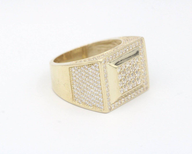14k Square Ring For Men zc Stones Yellow Gold By GD ™