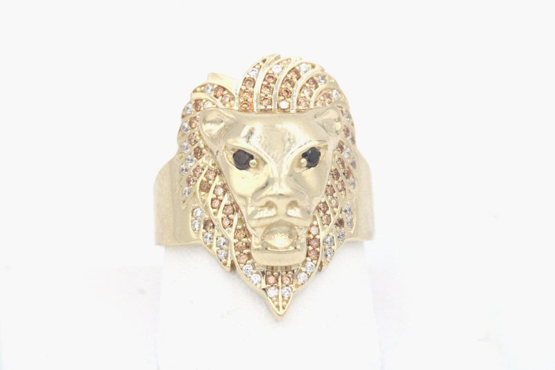 14k Lion King Ring For Men zc Stones Yellow Gold By GD ™ - Gold Drip Jewelry