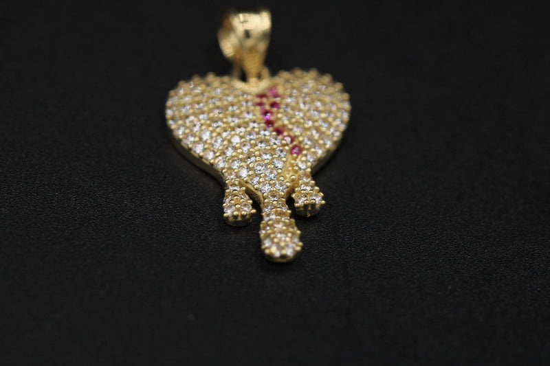Dripping Broken Heart Pendant Full CZ 14K by Gold Drip ™ - Gold Drip Jewelry