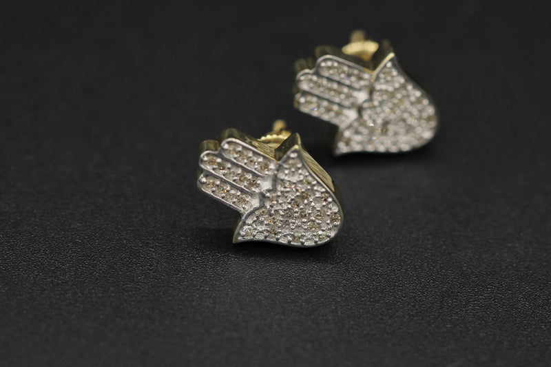 14k Hamsa Diamond Earrings by Gold Drip ™ - Gold Drip Jewelry
