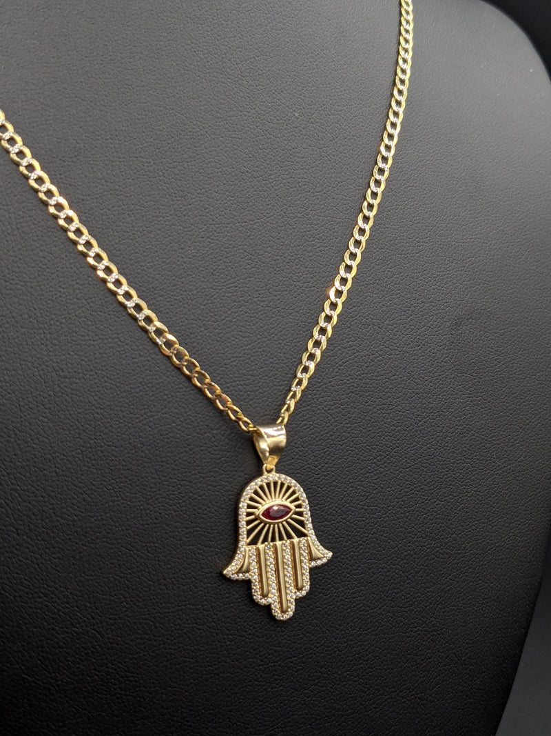 14k Solid Cuban Chain Flat Two Tones With Hamsa Pendant cz Stones by Gold Drip - Gold Drip Jewelry