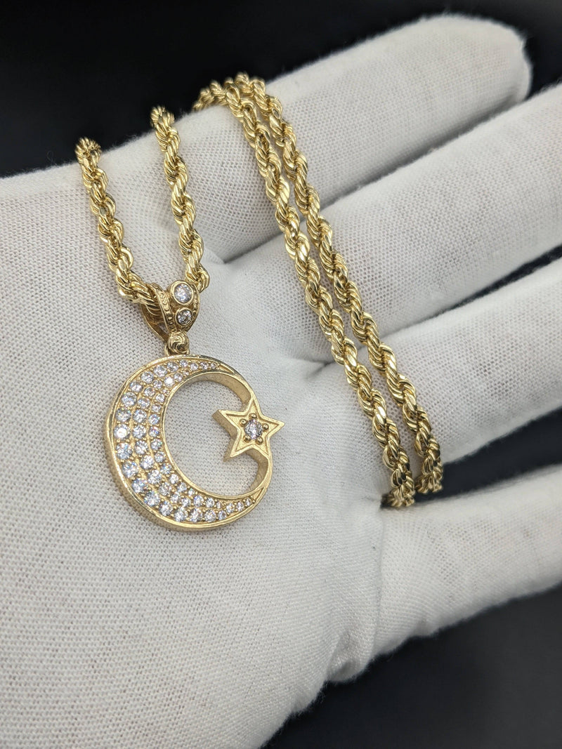 14k Hollow Rope Chain with Half Moon  Yellow Gold By Gold Drip™ - Gold Drip Jewelry