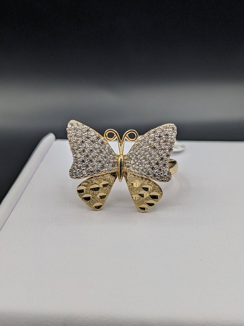 14K Butterfly Ring CZ STONES GD ™ - Gold Drip Jewelry