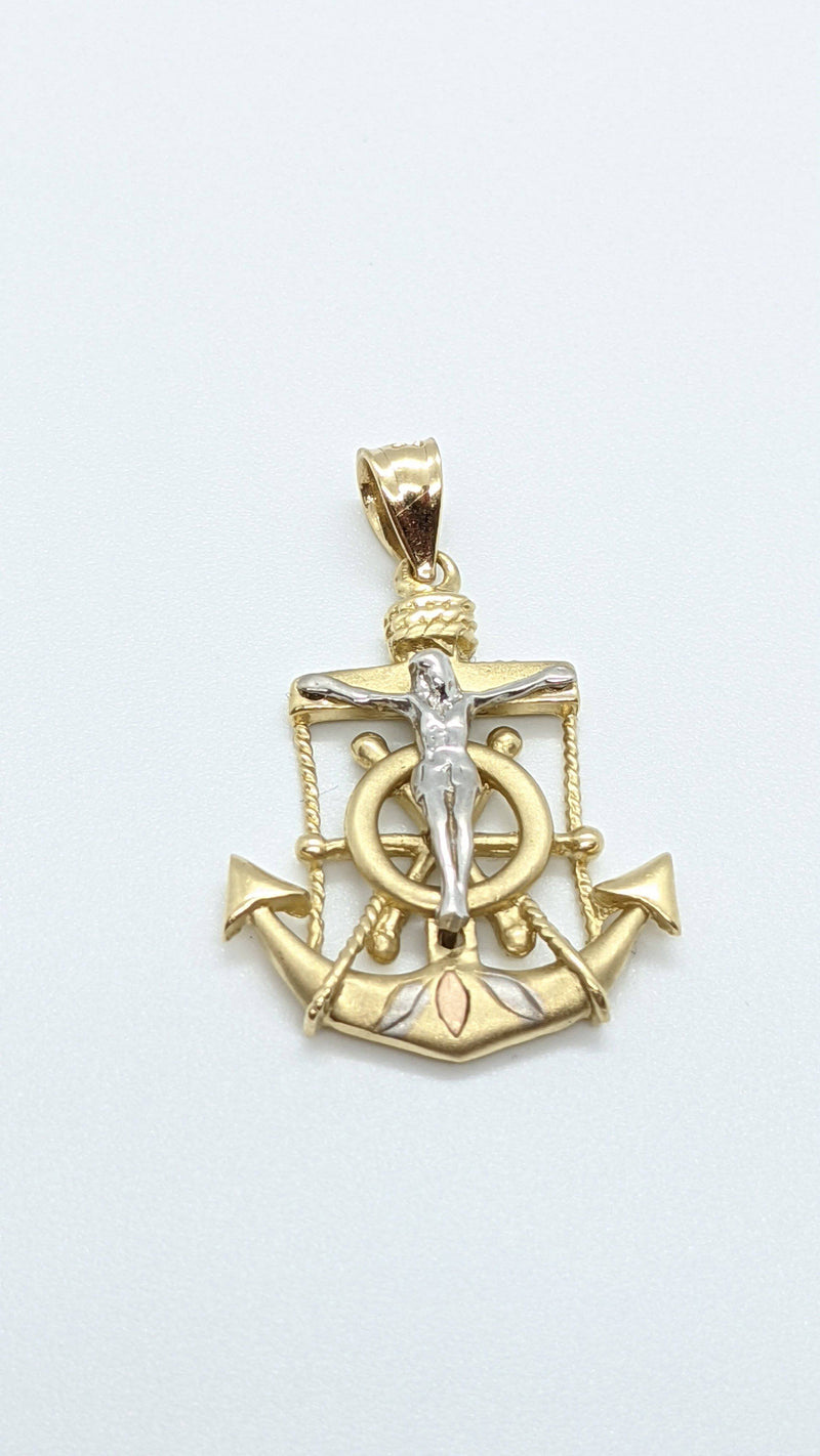 Anchor / Jesus Christ Two Tones Pendant GD ™ - Gold Drip Jewelry