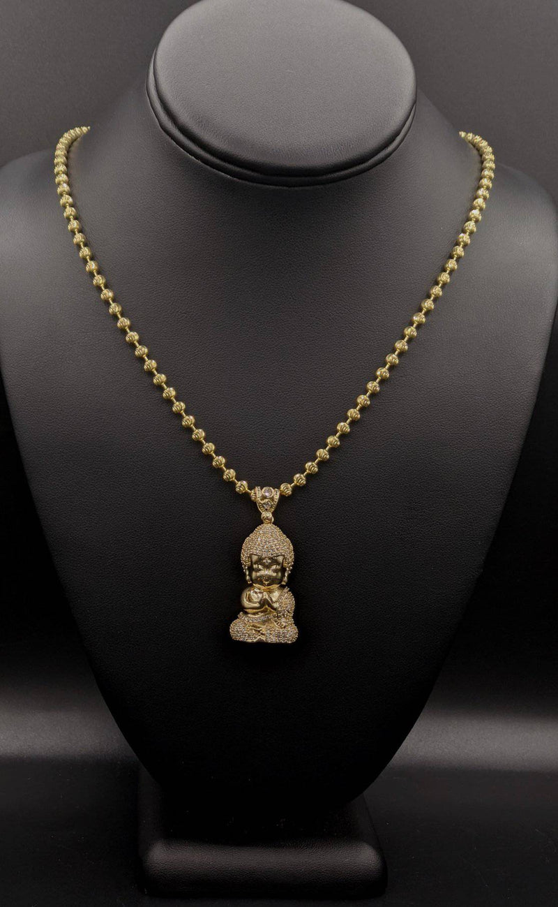 14K Solid Buda cz Pendant with Moon Cut Chain by GD ™ - Gold Drip Jewelry
