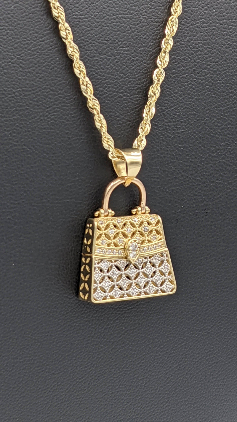14K Women Bag cz Pendant  With Hollow Rope Chain  by GD ™ - Gold Drip Jewelry
