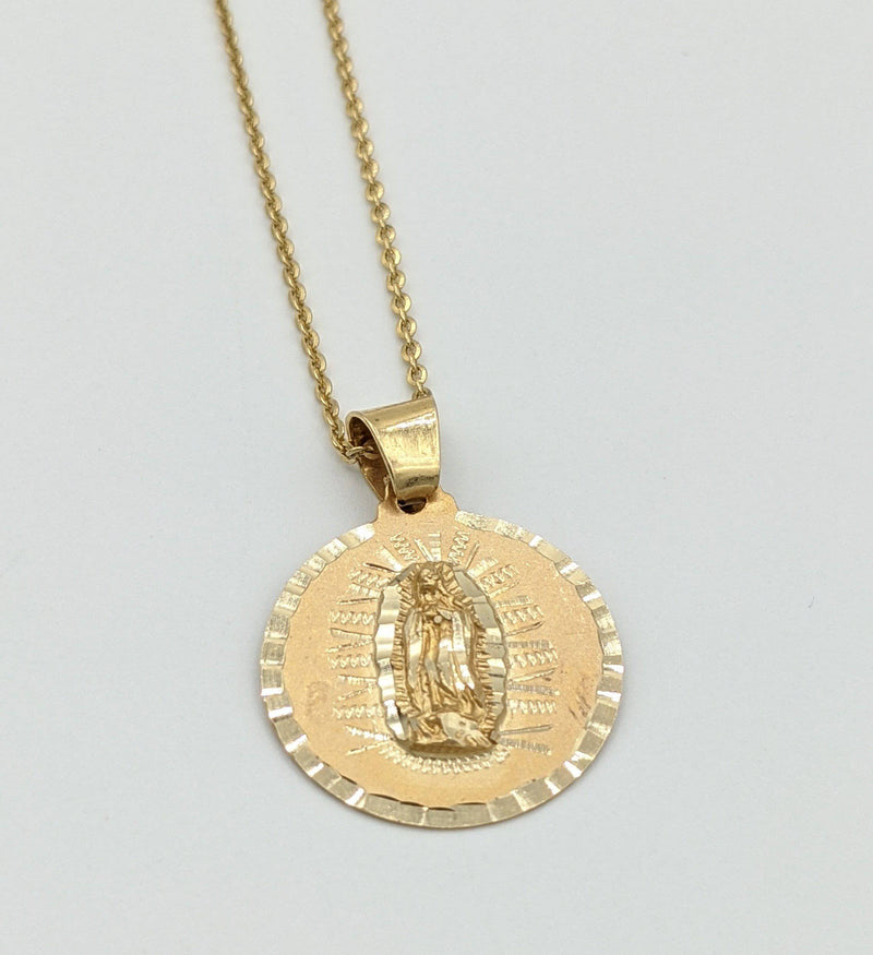 14K Virgen Pendant With Solid Cable Chain By GD - Gold Drip Jewelry