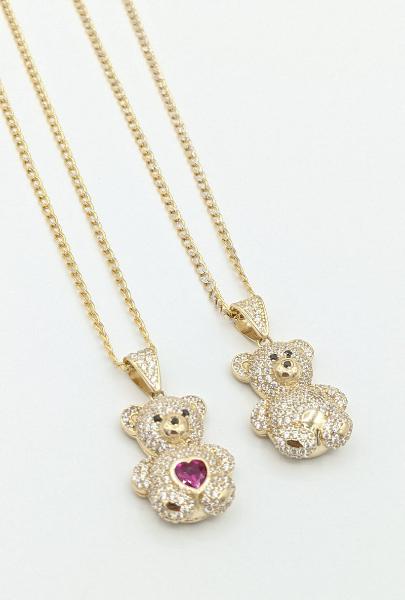 14K Teddy Bear (Red And Plane) Pendant With Hollow Cuban Chain Flat Two Tones by GD ™ - Gold Drip Jewelry