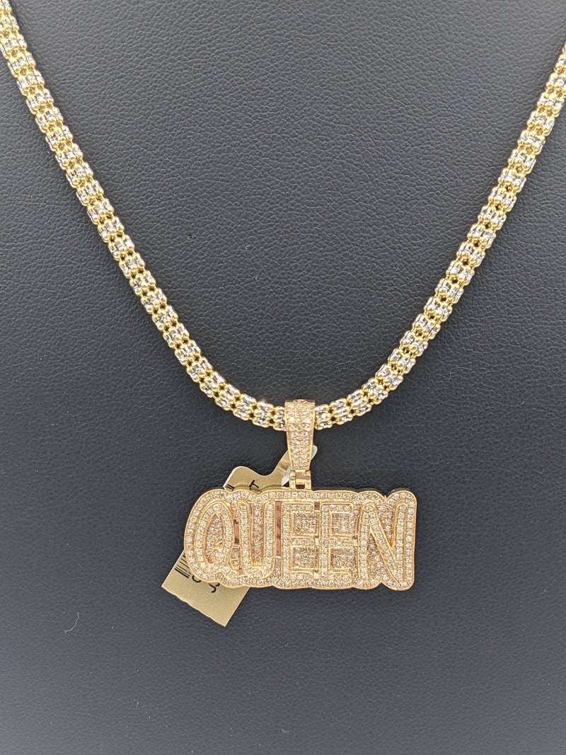 Queen Diamond Pendant with Ice Chain Chain by GD™ - Gold Drip Jewelry