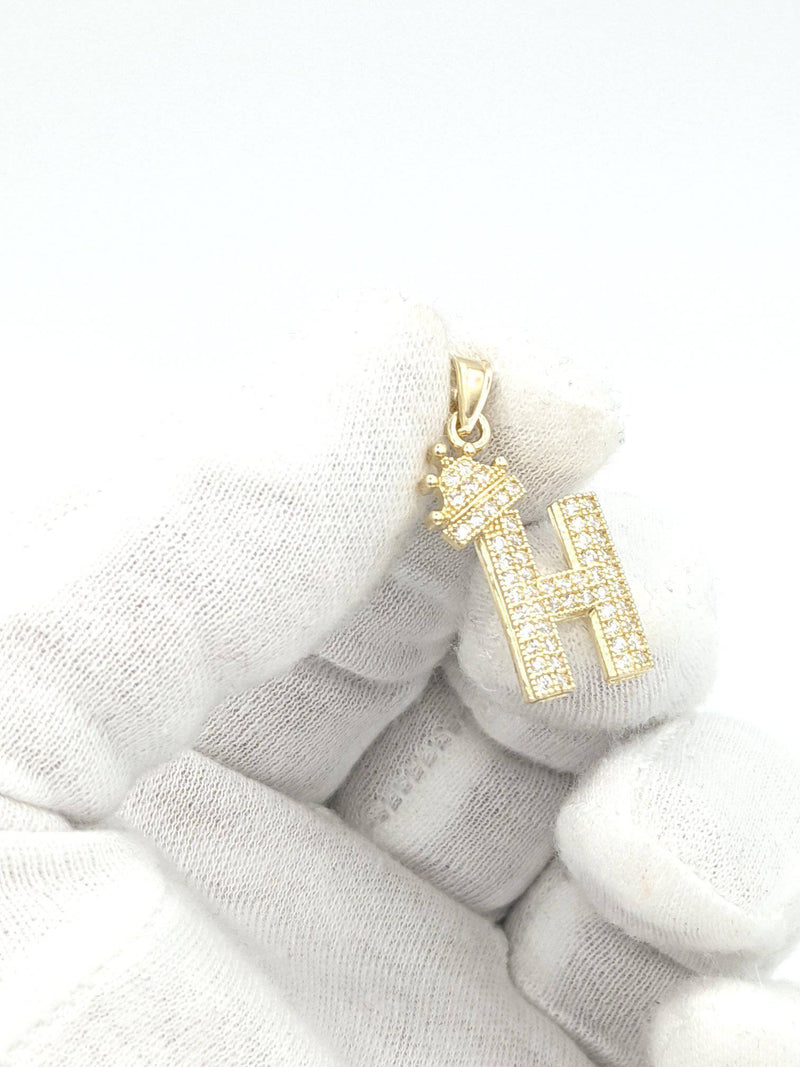 14K Initial Crown ( H ) zc stones Yellow Gold by GD ™ - Gold Drip Jewelry