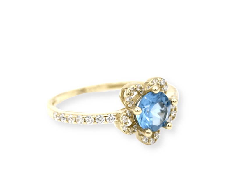 14K Birthstone Ring Month of March *AQUAMARINE*  by Gold Drip ™ - Gold Drip Jewelry